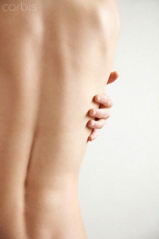 Costas e coluna vertebral feminina