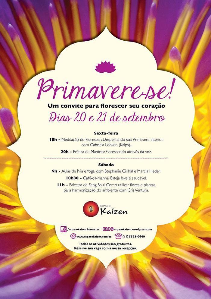 Evento Primavera Kaizen com meditação, yoga, nia, feng shui