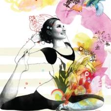 ilustração de moça praticando yoga
