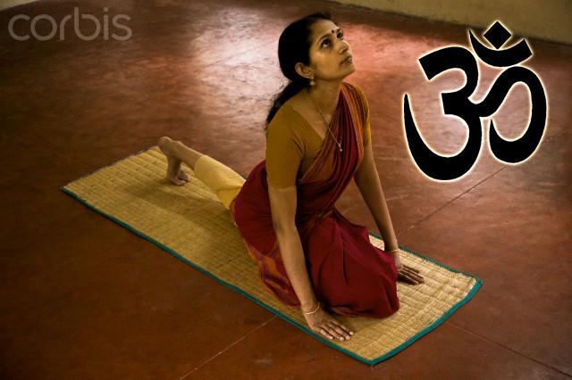Indiana praticando Yoga - significado de om