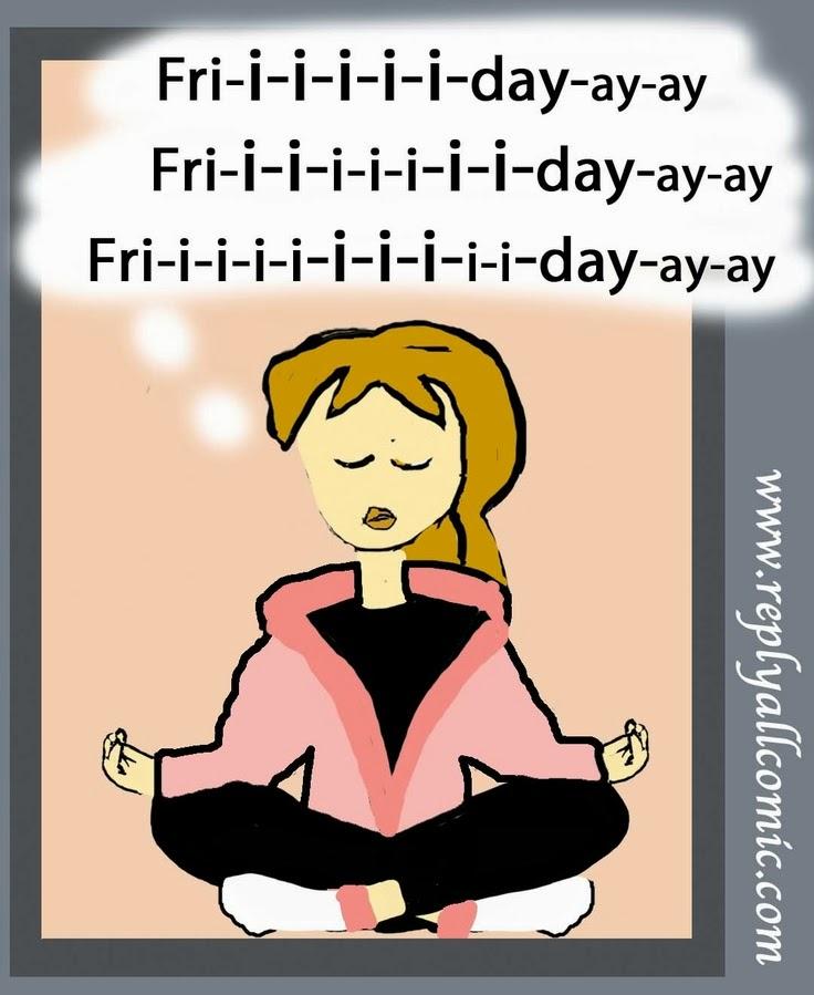 Ilustração de garota meditando, pensando na sexta-feira - Um exercicio para ficar no aqui e agora